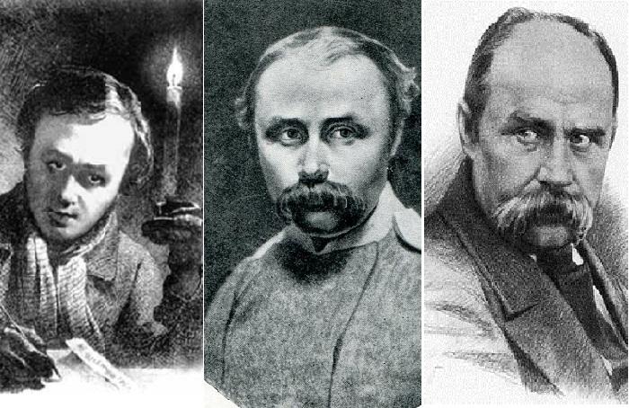 Тарас Григорьевич Шевченко в разные годы жизни.