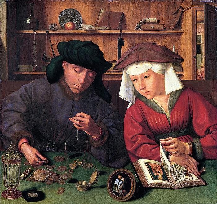 «Меняла с супругой». (1514). Лувр, Париж. Автор: Квентин Массейс.